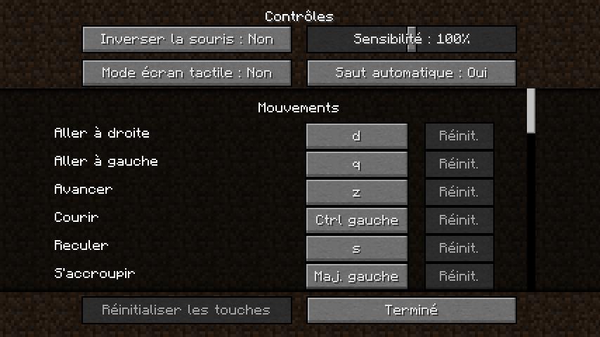 Changer les contrôle de minecraft - clavier